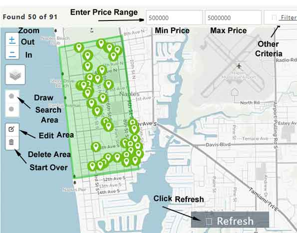 Naples Map Search Instructions